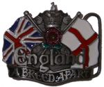 England A Breed Apart - RED ROSE Belt  Buckle + display stand. Code AC5 RED
